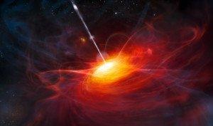 Artist's rendering a quasar jet