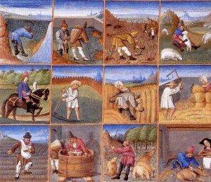 Agricultural calendar from a manuscript of Pietro Crescenzi, written c. 1306