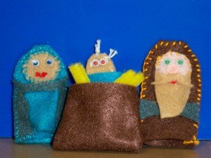 the holy family as finger puppets