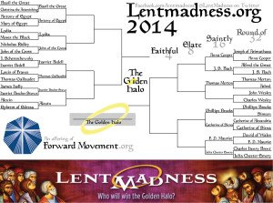 Lent Madness 2014 bracket, with one round left to finish in the round of 32