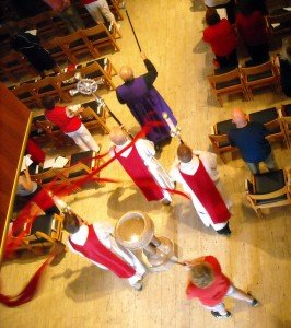 Verger, Cross, Acolytes, and Dove Kite process at Pentecost at Christ Church Cathedral in St. Louis, Missouri