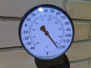 A circular thermometer dial exceeds 120 F